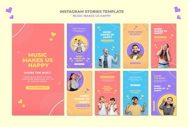 Muziek concept instagram verhalen sjabloon Gratis Psd