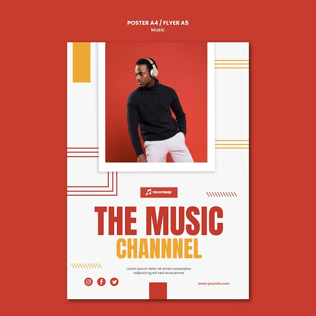 Muziek concept poster sjabloon Gratis Psd