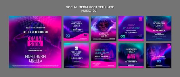 Muziek dj social media post Premium Psd