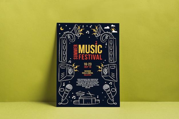 Muziek festival poster mockup Gratis Psd