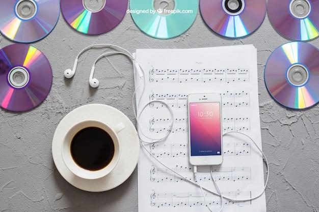 Muziek mockup smartphone op notities Gratis Psd