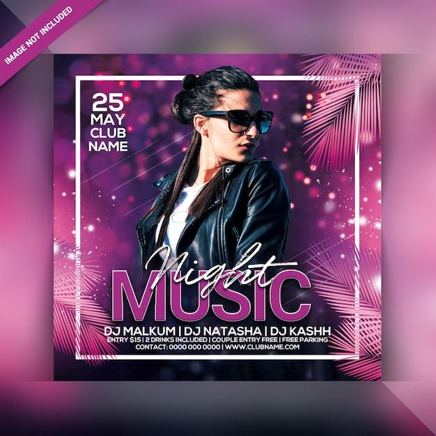Muziek nacht feest flyer Premium Psd