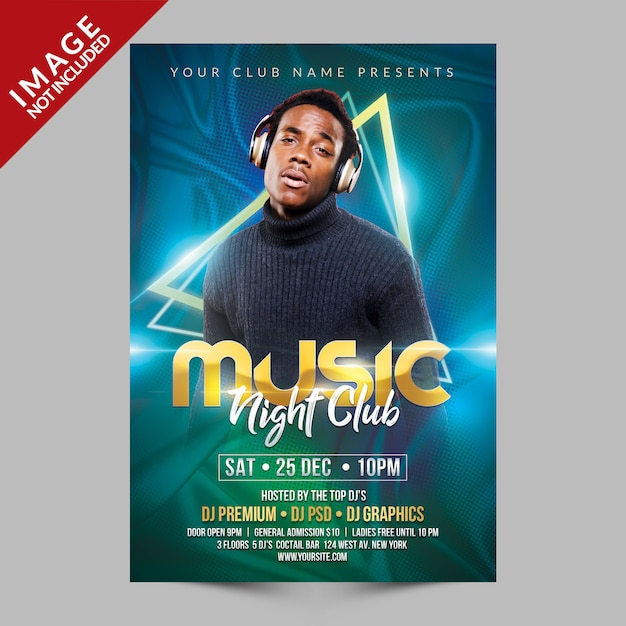 Muziek night club flyer psd-sjabloon Premium Psd