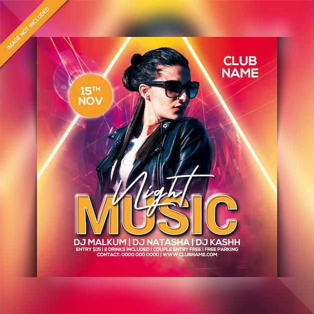 Muziek night party flyer Premium Psd