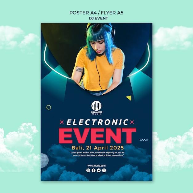 Muziek partij concept poster flyer sjabloon Gratis Psd