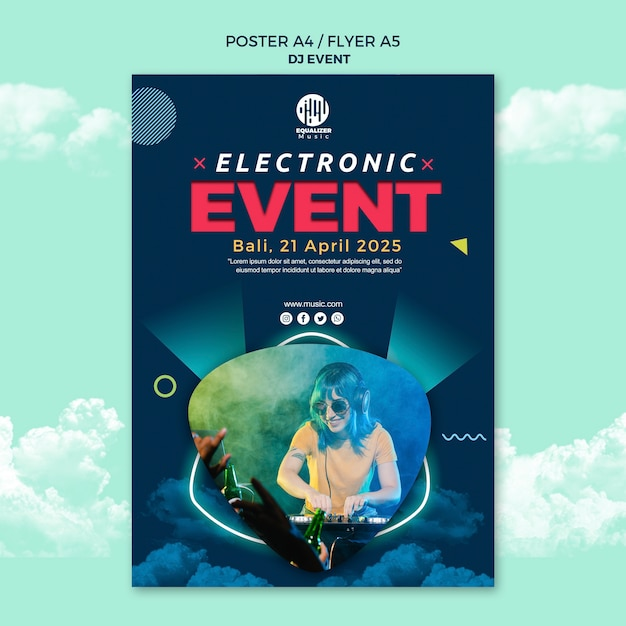 Muziek partij concept poster flyer sjabloon Premium Psd