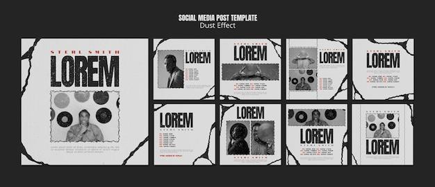 Muziekalbum sociale media-berichten met stofeffect Premium Psd