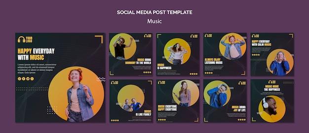 Muziekevenement social media-berichten Gratis Psd