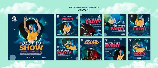 Muziekfeest social media postsjabloon Gratis Psd