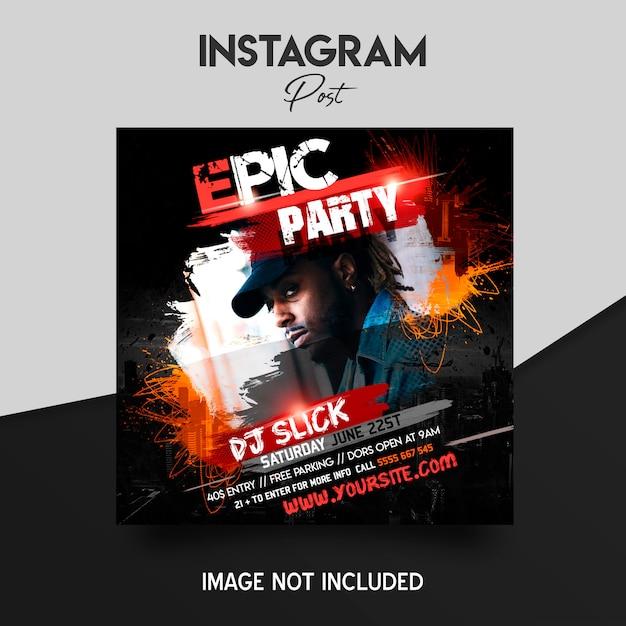 Muziekfestival instagram postsjabloon Premium Psd