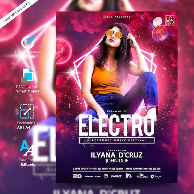 Muziekplezier en model neon flyer electro stijl feest creatieve poster Premium Psd