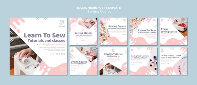Naaien tutorial en klassen social media postsjabloon Gratis Psd