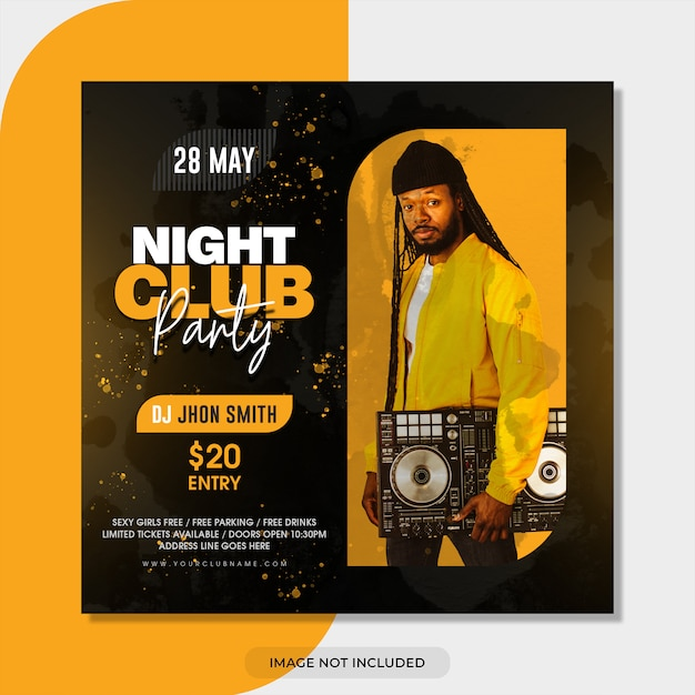 Nacht club partij folder sjabloon Premium Psd