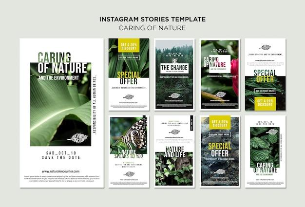 Natuur concept instagram verhalen sjabloon Gratis Psd