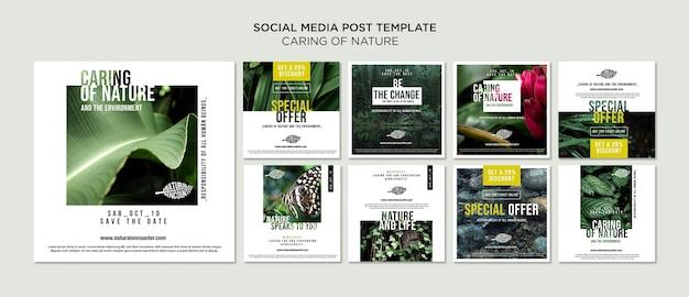 Natuur concept social media postsjabloon Gratis Psd