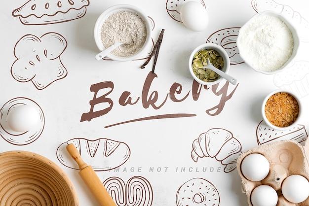 Natuurlijke biologische ingrediënten voor bakken met mockup-kopie ruimte Premium Psd