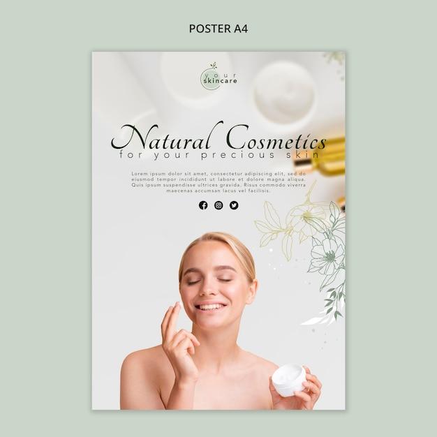 Natuurlijke cosmetica sjabloon poster Gratis Psd