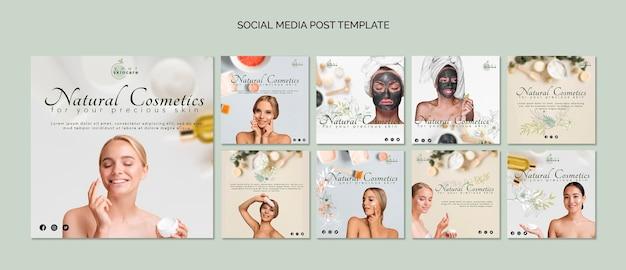 Natuurlijke cosmetica social media postsjabloon Gratis Psd