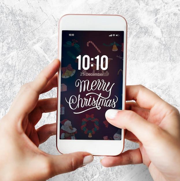Navidad vacaciones saludo diseño maqueta PSD gratuito