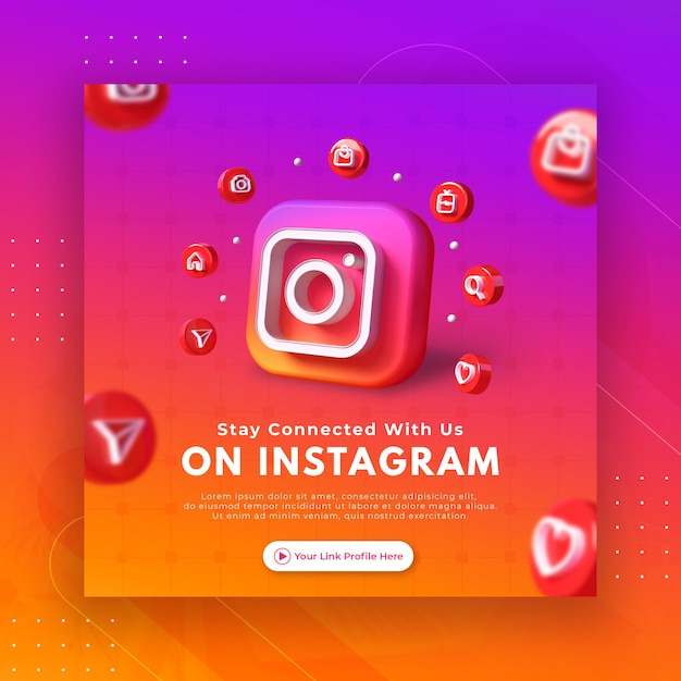Neem contact op met ons bedrijfspaginapromotie voor instagram postsjabloon Premium Psd