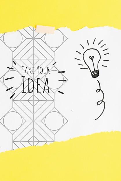 Neem uw idee citaat met gloeilamp schetsen en doodles Gratis Psd