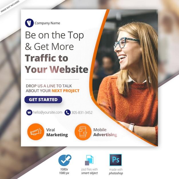 Negocios marketing web redes sociales banner PSD Premium
