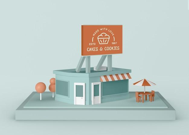 Negozio di torte e biscotti per pubblicità esterna Psd Gratuite