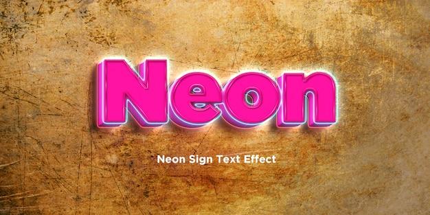 Neon 3d-tekststijleffect Premium Psd
