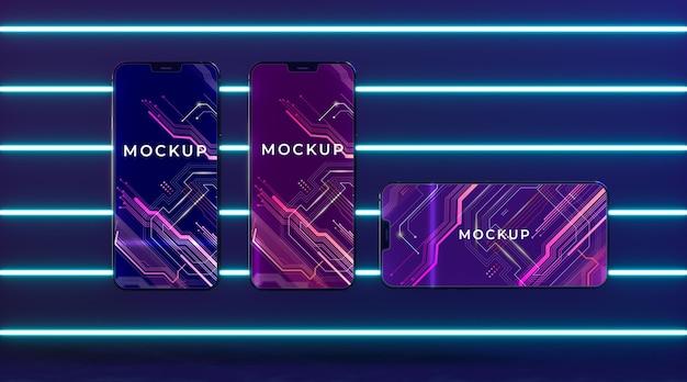 Neon apparaat concept mock-up Gratis Psd