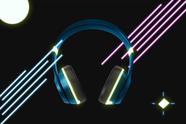 Neon cuffia mockup Psd Premium
