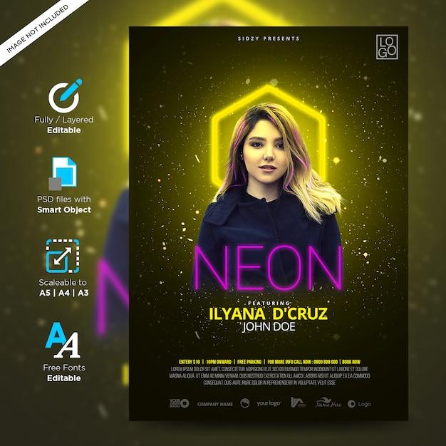 Neon muziek nacht plezier en dj nacht model neon flyer creatieve poster Premium Psd