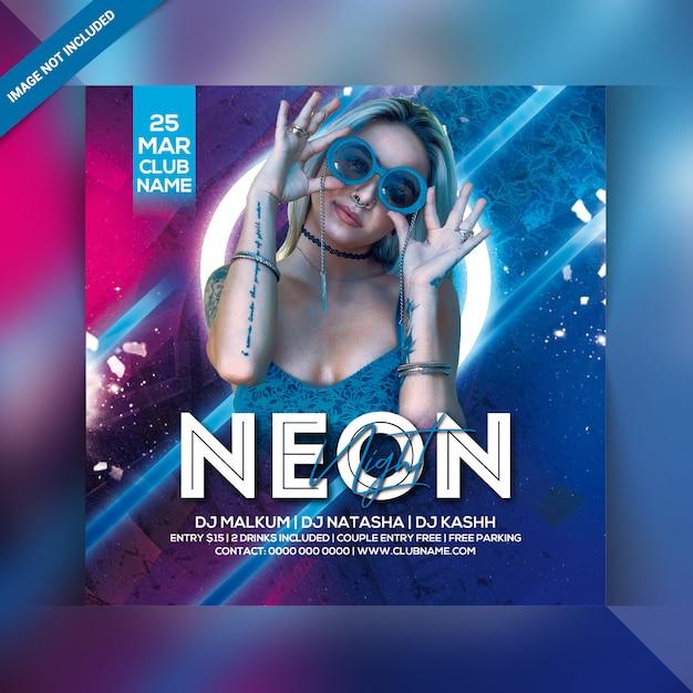 Neon nacht feest flyer Premium Psd