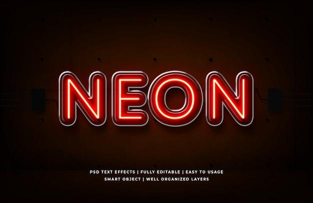 Neon rosso effetto testo in stile 3d premium psd Psd Premium