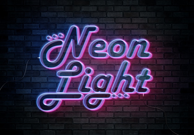 Neon teksteffect op bakstenen muur met mockup draden Premium Psd