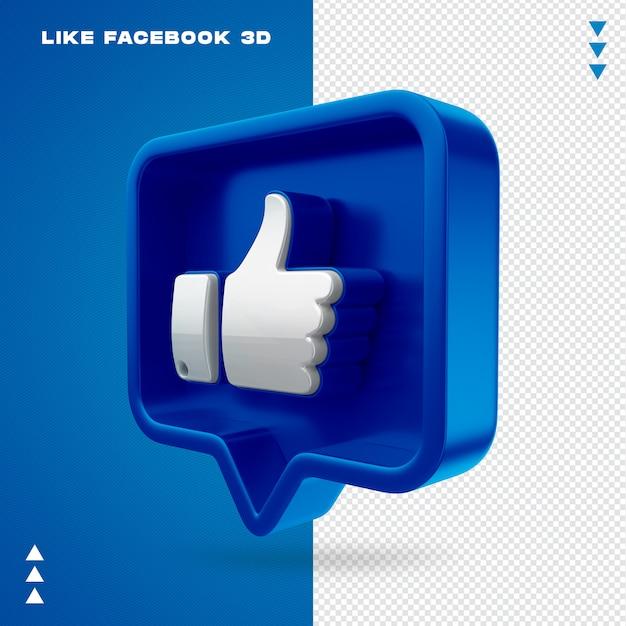 Net als facebook 3d geïsoleerd Premium Psd