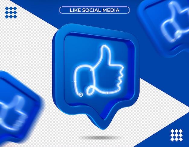 Net als facebook in 3d-rendering geïsoleerd Premium Psd