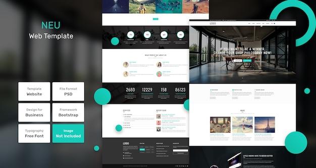 Neu websjabloon voor bedrijven en agentschappen Premium Psd