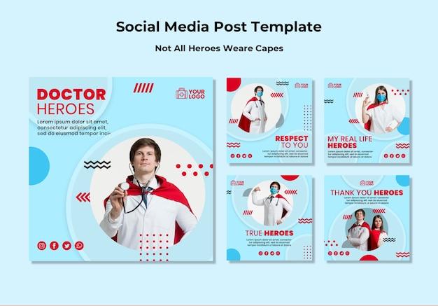 Niet alle helden dragen capes social media postsjabloon Gratis Psd