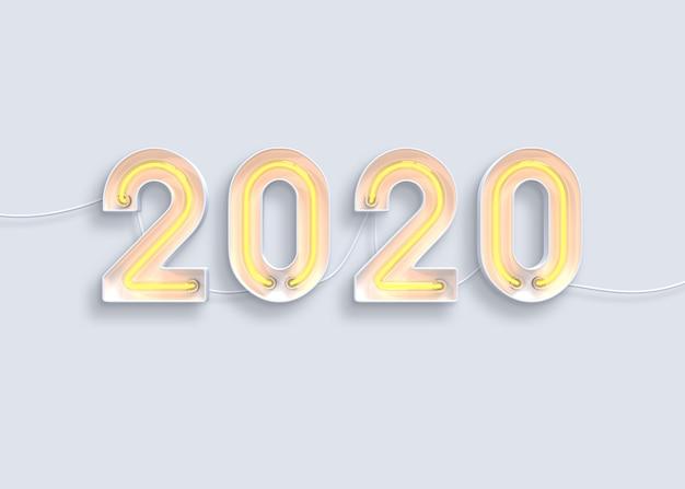 Nieuw jaar 2020 gemaakt van neon alfabet Premium Psd