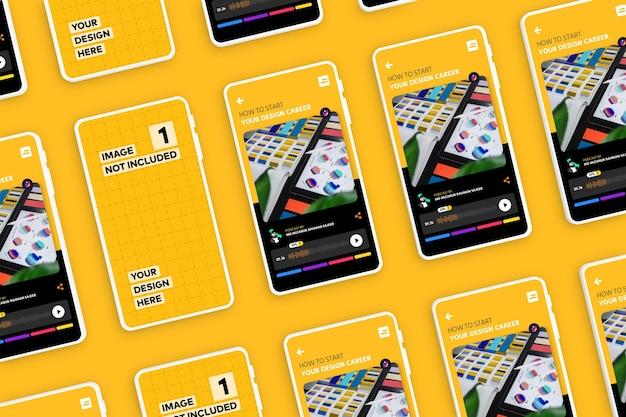 Nieuw modern smartphone-scherm-app-promotiemodel Premium Psd