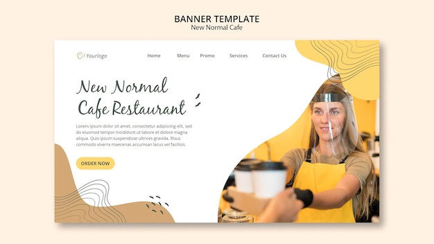 Nieuw normaal café-bannermalplaatje Gratis Psd