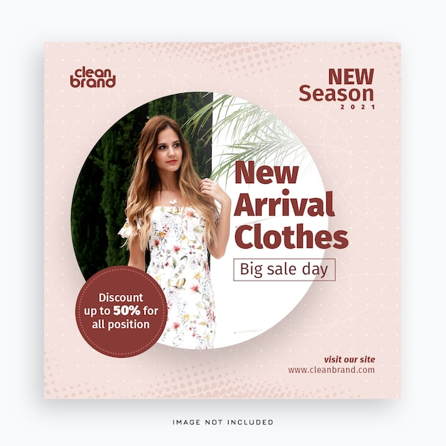 Nieuwe aankomst mode sociale media post banner Premium Psd