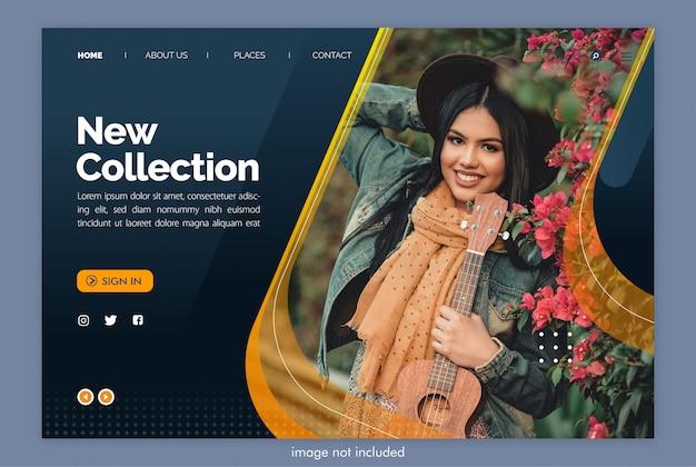 Nieuwe collectie bestemmingspagina website met afbeeldingsjabloon Premium Psd