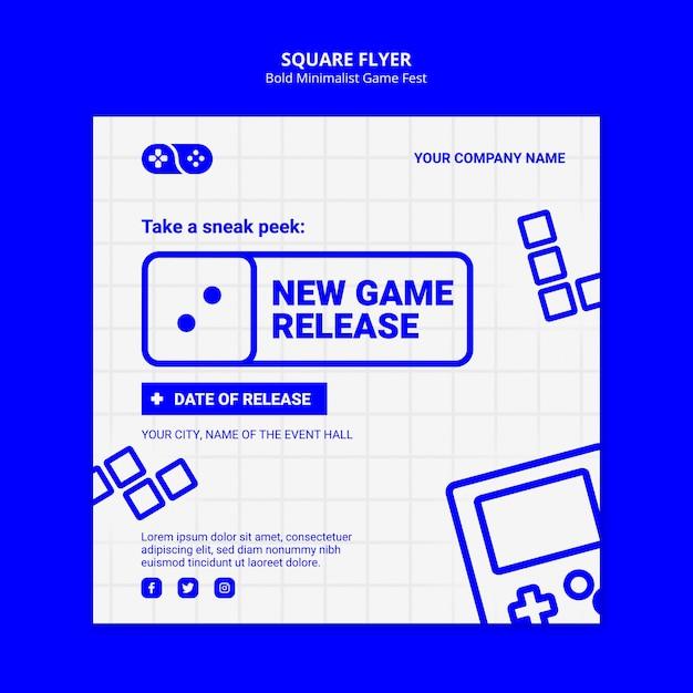 Nieuwe game release fest vierkante flyer-sjabloon Gratis Psd