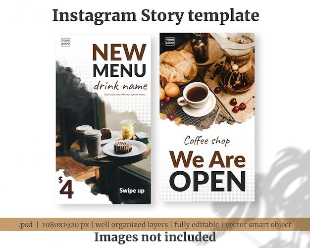 Nieuwe menu koffie opening sociale media verhalen sjabloon banner Premium Psd