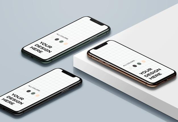 Nieuwe smartphones mockup naar boven gericht Gratis Psd
