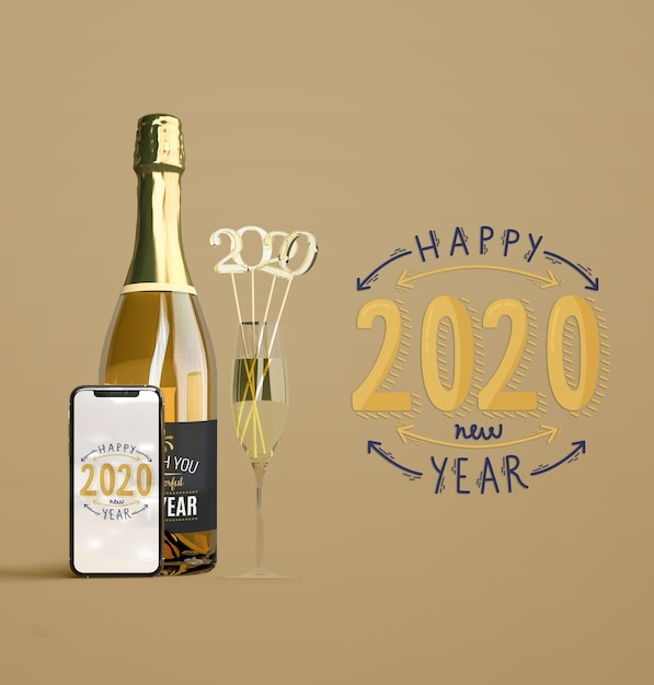 Nieuwjaarmodel met champagne Gratis Psd