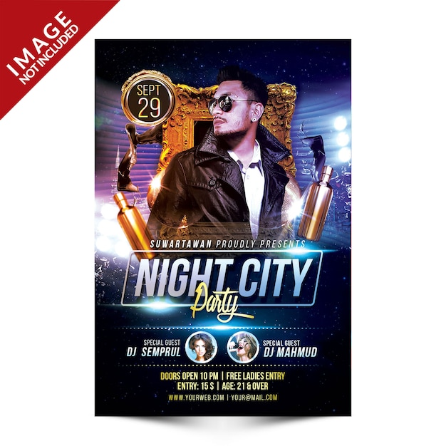 Night city party flyer Premium Psd