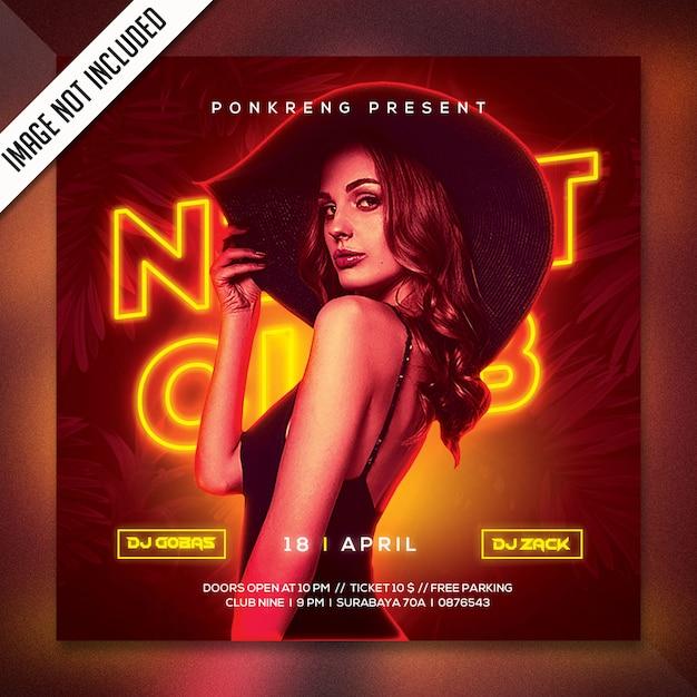Night club party flyer psd PSD Premium