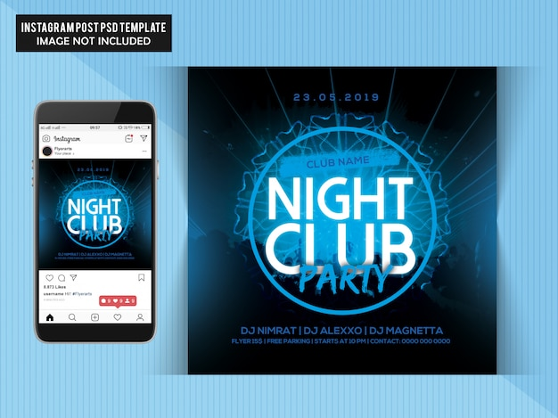 Night club party flyer voor instagram Premium Psd